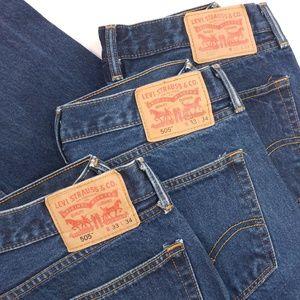 3 Pairs LEVIS Men's 505 Blue Jeans - 33×34